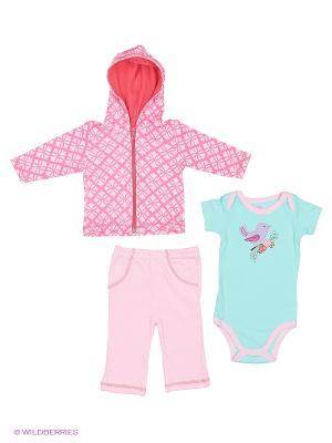 Комплект жакет с капюшоном, боди и штанишки Hudson Baby. Цвет: розовый