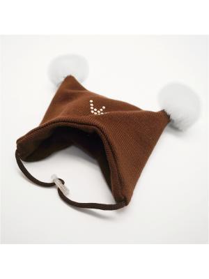 Шапочка зимняя коричневая 2 помпона Yoriki. Цвет: коричневый