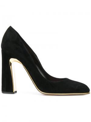 Туфли с золотистой отделкой Sebastian. Цвет: чёрный