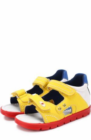 Комбинированные сандалии с застежками велькро и прострочкой Falcotto. Цвет: желтый