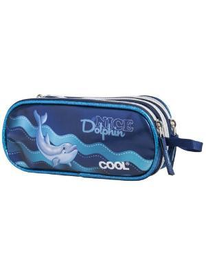 Пенал овальный Дельфины Target. Цвет: темно-синий, синий, темно-серый