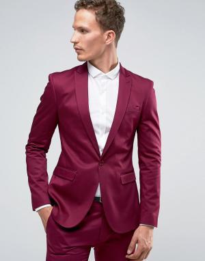 ASOS Супероблегающий малиновый пиджак. Цвет: фиолетовый