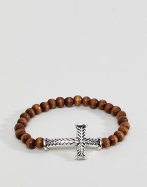 Icon Brand Браслет из бусин с гравированным крестом. Цвет: коричневый