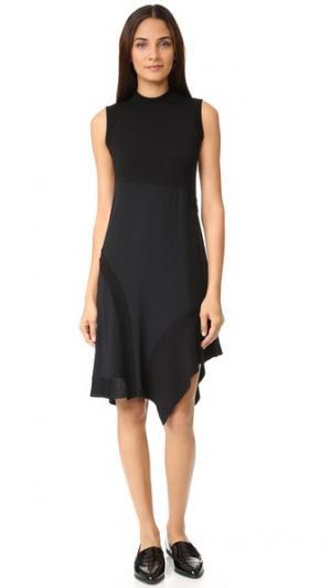 Асимметричное платье с воротником-стойкой DKNY. Цвет: голубой
