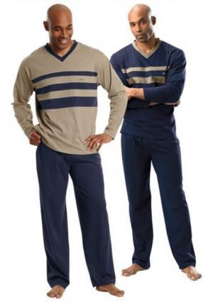 Пижама мужская, 2 штуки LE JOGGER. Цвет: темно-синий+бежевый
