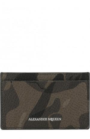 Кожаный футляр для кредитных карт Alexander McQueen. Цвет: хаки