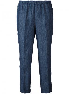 Укороченные джинсы с эластичным поясом Masscob. Цвет: синий