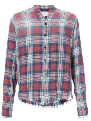 Клетчатая рубашка с необработанными краями Greg Lauren. Цвет: красный