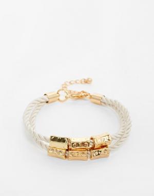 Designsix Плетеный браслет с золотистой деталью. Цвет: серебряный