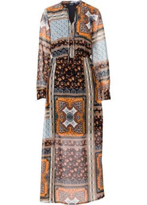 Обязательный элемент гардероба: длинное шифоновое платье (с принтом в стиле пэчворк) bonprix. Цвет: с принтом в стиле пэчворк