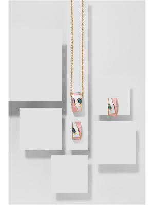 Набор украшений: цепочка с кулоном и серьги Клубничный милкшейк Nothing but Love. Цвет: розовый, белый, золотистый