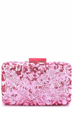 Клатч Goa с вышивкой пайетками Oscar de la Renta. Цвет: розовый