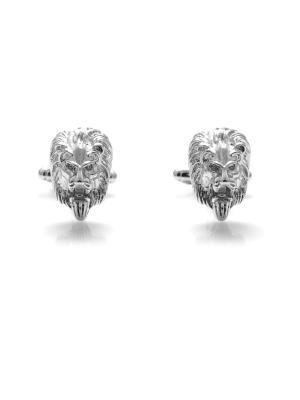 Запонки лев царь зверей зодиак Churchill accessories. Цвет: серебристый