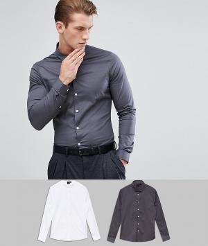 ASOS Набор облегающих рубашек белого и темно-серого цвета. Цвет: мульти