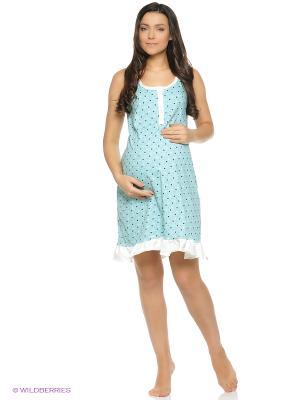 Ночная сорочка для беременный и кормящих с застежкой на петли Hunny Mammy. Цвет: зеленый