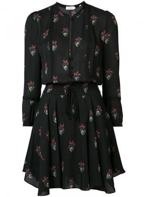Платье-рубашка с цветочным принтом A.L.C.. Цвет: чёрный