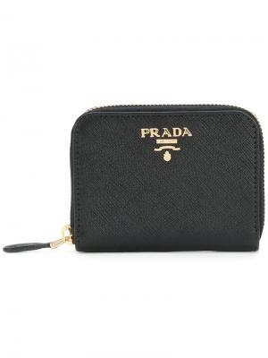 Футляр для карт на молнии с бляшкой логотипом Prada. Цвет: чёрный