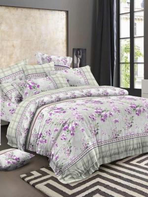 Комплект постельного белья, сатин, евро, пододеяльник на молнии Letto. Цвет: серый, сиреневый