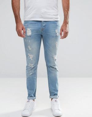 Hoxton Denim Рваные облегающие джинсы. Цвет: синий