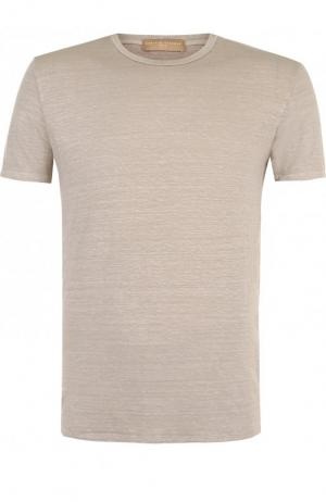 Льняная футболка с круглым вырезом Daniele Fiesoli. Цвет: темно-бежевый