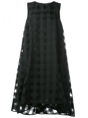 Прозрачное платье с узором в клетку Ultràchic. Цвет: чёрный