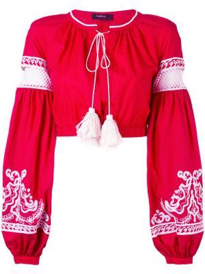 Блузка с вышивкой Wandering. Цвет: красный