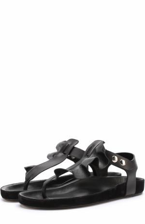 Кожаные сандалии с оборкой Isabel Marant. Цвет: черный