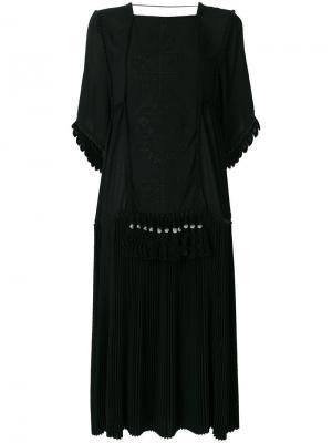 Платье-туника с плиссировкой и вышивкой Veronique Branquinho. Цвет: чёрный