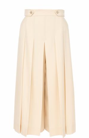 Укороченные шерстяные брюки в складку Gucci. Цвет: молочный
