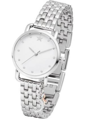 Часы с подвеской биколор и металлическим браслетом (серебристый) bonprix. Цвет: серебристый