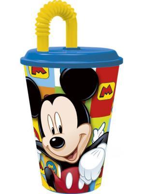 Стакан пластиковый с соломинкой и крышкой (спортивный, 430 мл). Микки Маус Символы Stor. Цвет: зеленый, красный, черный