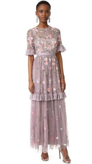 Вечернее платье с хаотично расположенным мелким рисунком Needle & Thread. Цвет: лаванда