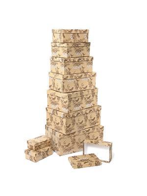Набор из 10 картонных коробок 12*6,5*4-30,5*20*13см, Гимн весне VELD-CO. Цвет: оливковый, светло-коричневый, терракотовый