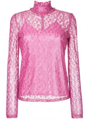 Foiled lace frilled nigh neck top G.V.G.V.. Цвет: розовый и фиолетовый