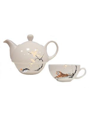Набор чайный Тигр Дерево Счастья. Цвет: бежевый