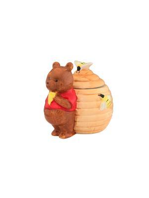 Горшочек для меда Мишка-сладкоежка Elan Gallery. Цвет: коричневый, светло-коричневый, красный