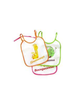 Набор клеенчатых слюнявчиков, 3 шт. ПОМА. Цвет: красный, оранжевый, зеленый