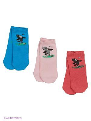Носки - 3 пары Гамма. Цвет: бирюзовый, коралловый, розовый