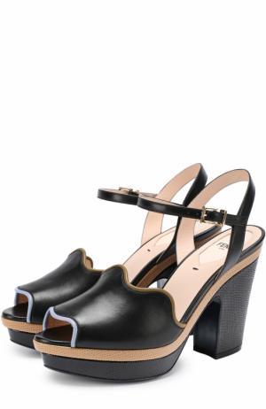 Кожаные босоножки с фигурным вырезом Fendi. Цвет: черный