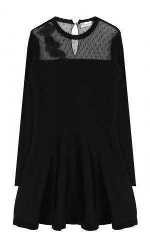 Вязаное мини-платье с длинным рукавом и кружевной вставкой REDVALENTINO. Цвет: черный