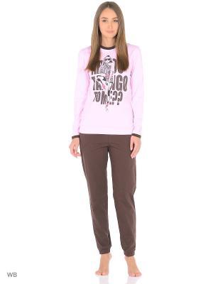 Комплект домашней одежды ( кофта, брюки) HomeLike. Цвет: коричневый, розовый