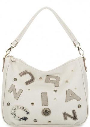 Кожаная сумка с нашивками через плечо Curanni. Цвет: молочный