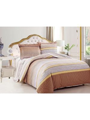 Комплект постельного белья 2сп Jardin. Цвет: серо-коричневый