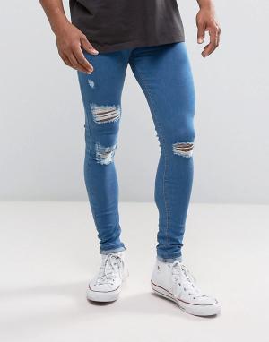 Criminal Damage Синие джинсы скинни с рваной отделкой Good For Nothing. Цвет: синий