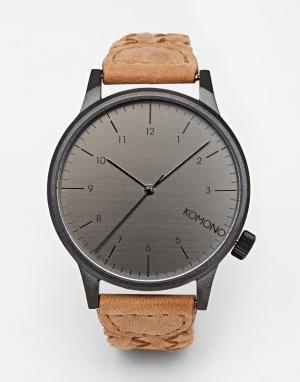 Komono Часы с кожаным плетеным ремешком Winston. Цвет: коричневый