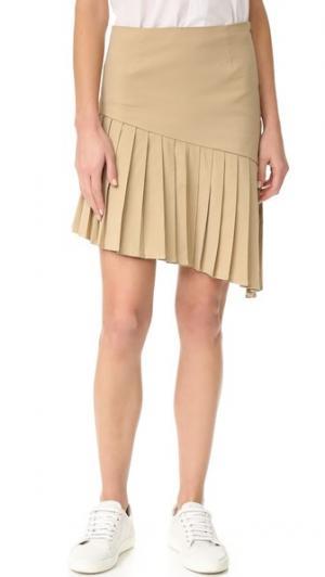 Асимметричная плиссированная юбка Sea. Цвет: хаки