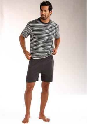 Пижама с шортами LE JOGGER. Цвет: темно-серый/кремовый