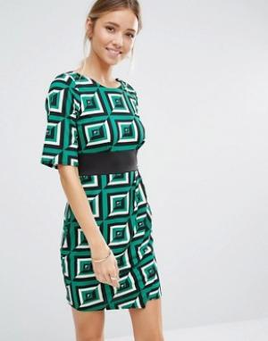 Closet London Платье с геометрическим принтом и отделкой. Цвет: зеленый