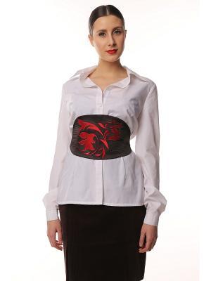 Пояс-оби с вышивкой Красные листья SEANNA. Цвет: синий