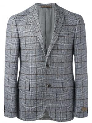 Пиджак в клетку Corneliani. Цвет: серый